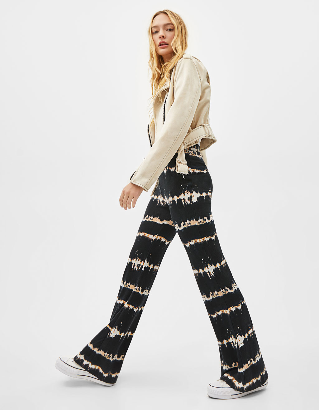 Flared trousers with tie-dye print