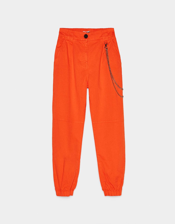 pantalon orange bershka