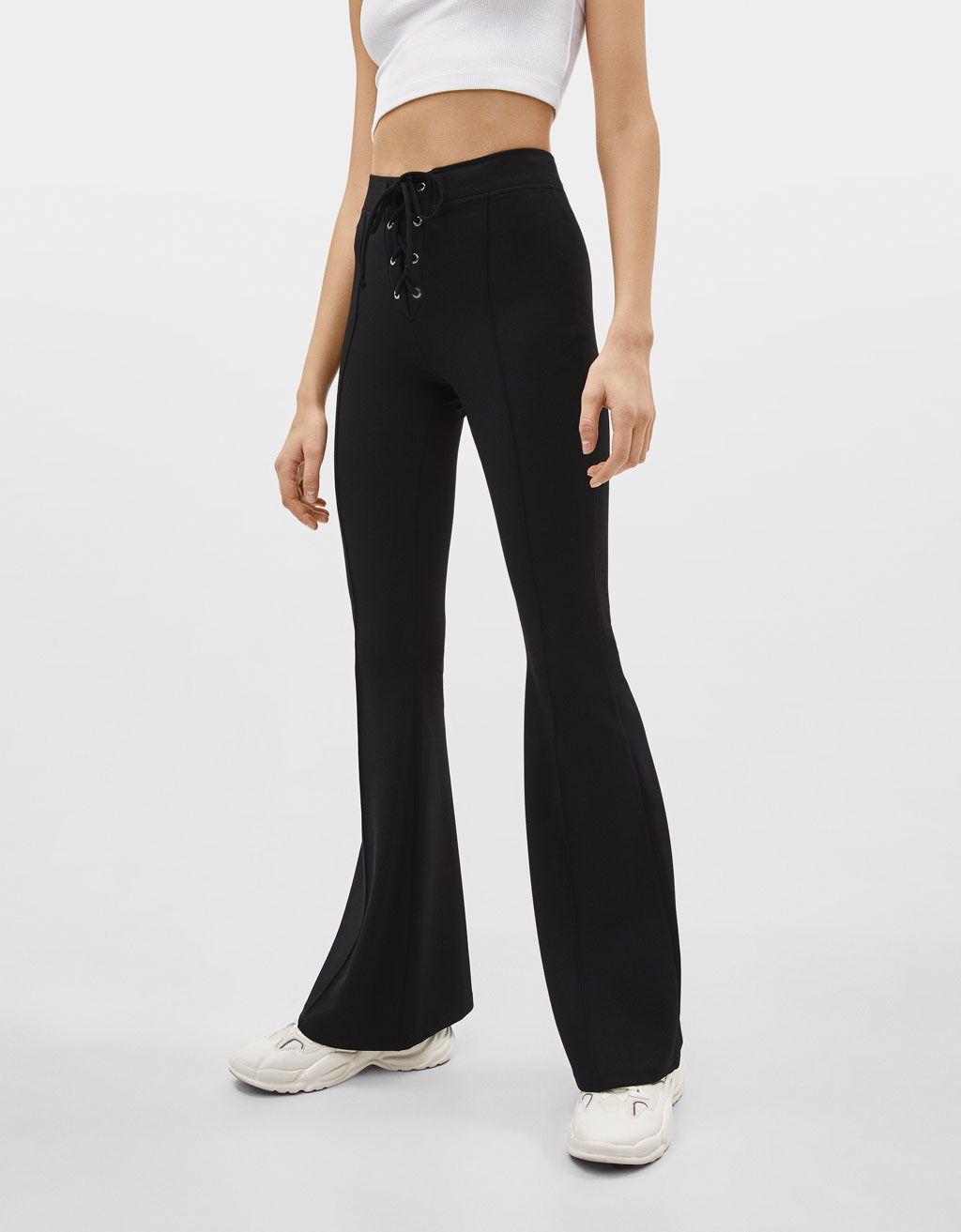 Flared lace-up trousers