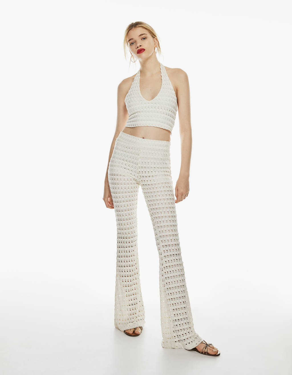 Flared lace trousers