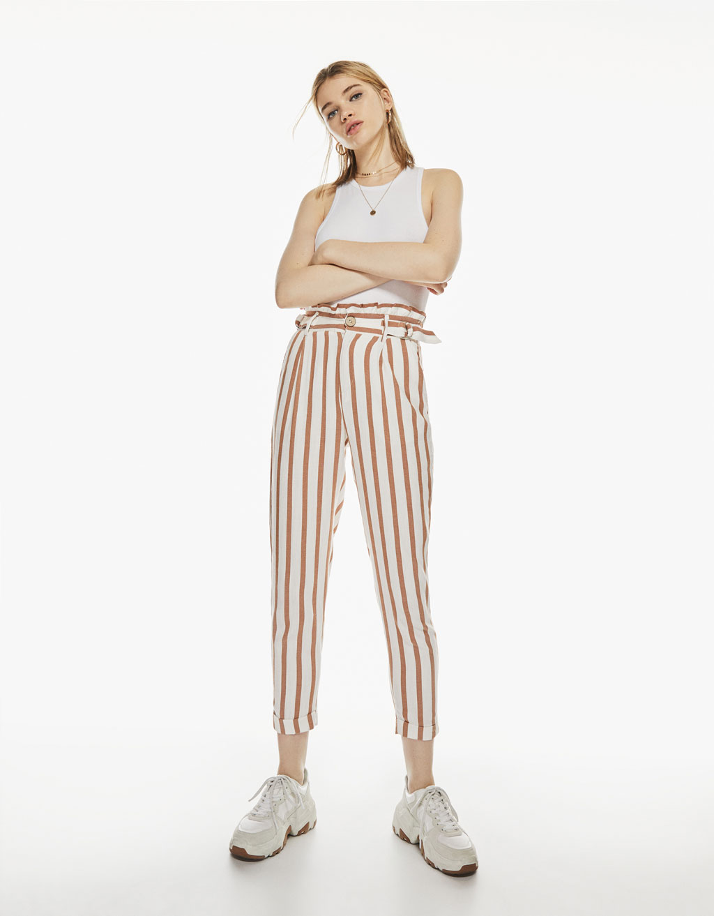 Striped paperbag pants