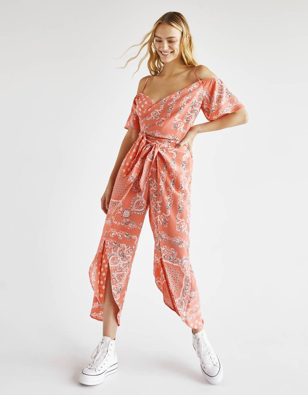 Παντελόνι culotte με σχέδιο λαχούρι