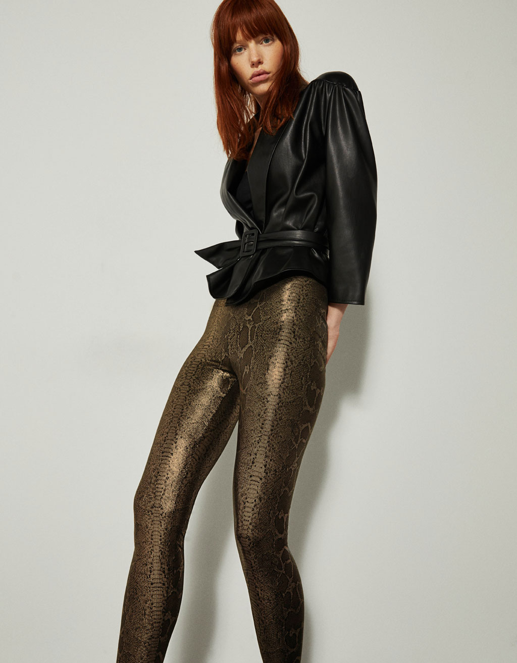 Metallic snakeskin print leggings