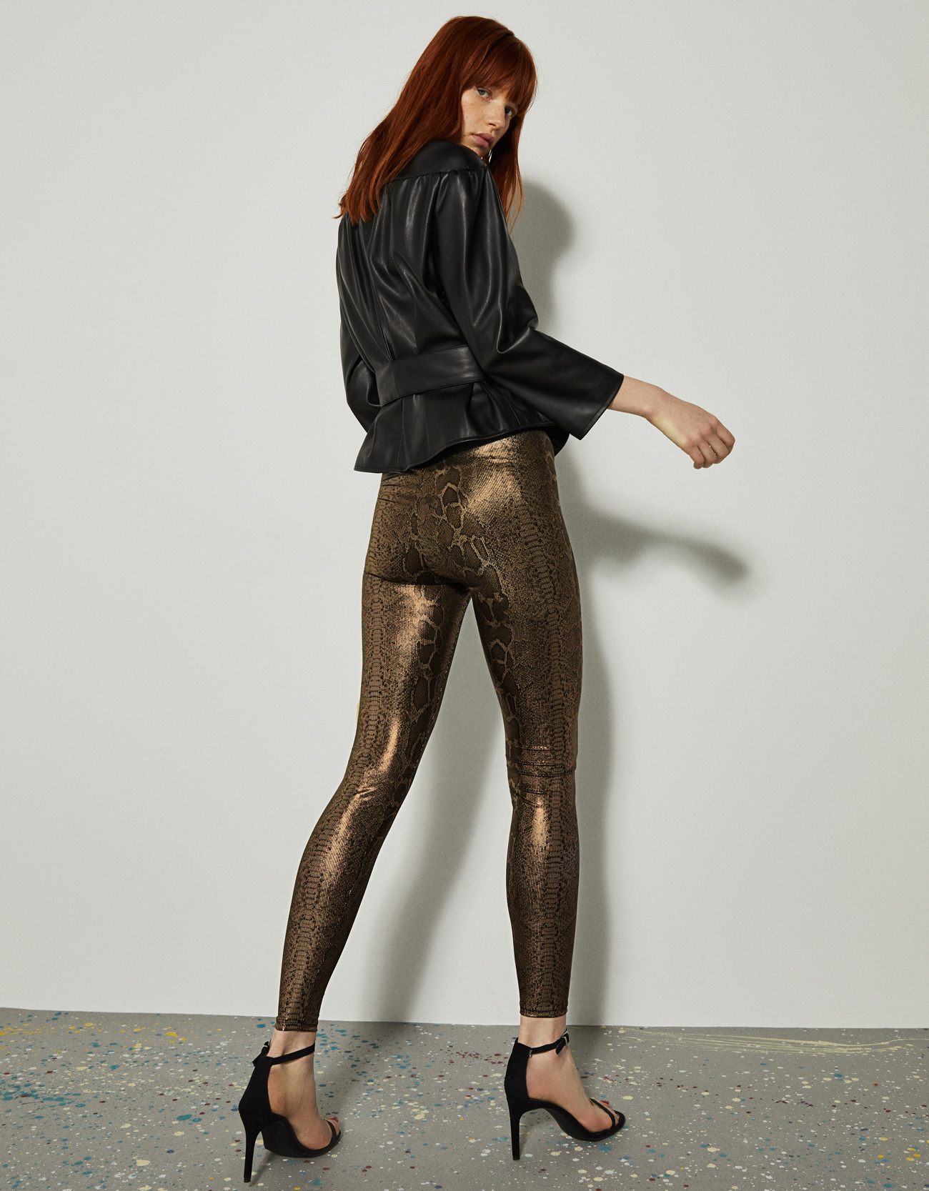 03a29b05c9981 Metallic snakeskin print leggings · Metallic snakeskin print leggings ...