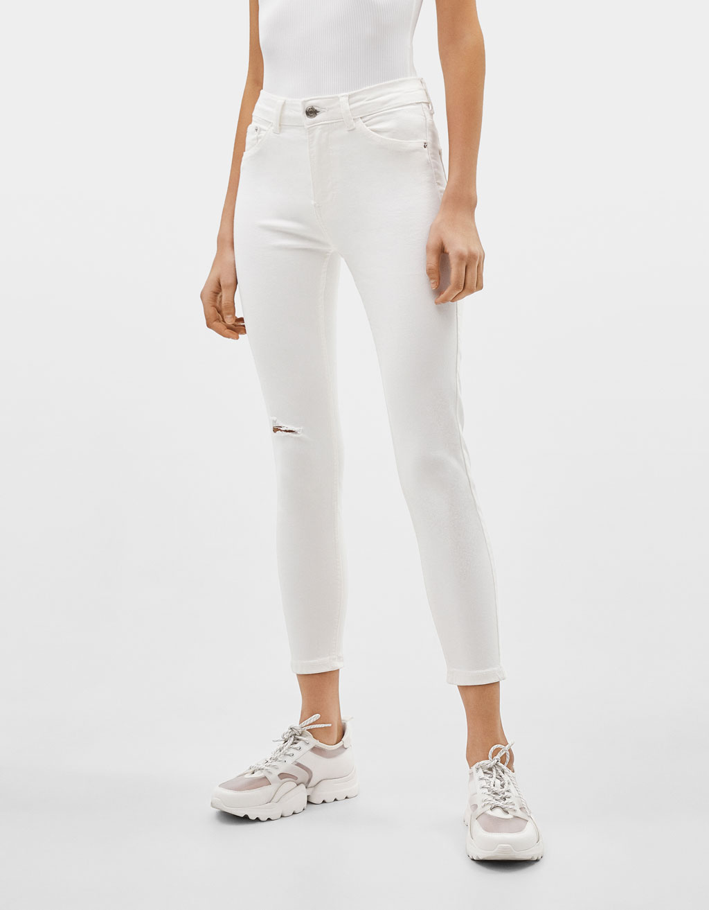 Jeans Skinny Cropped Mid Waist