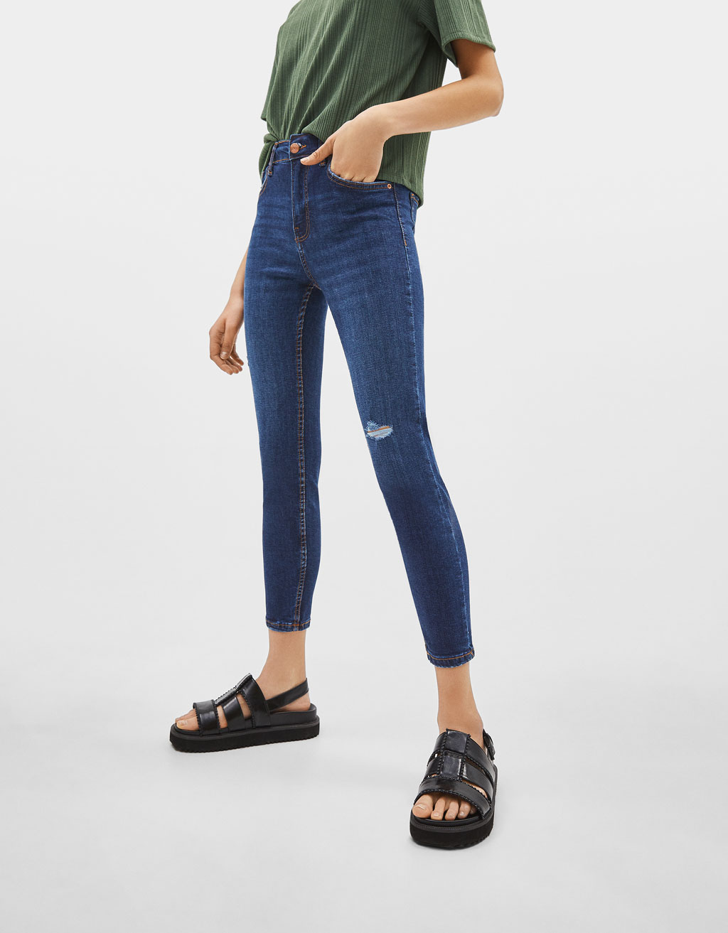 Jeans Skinny Cropped Mid Rise