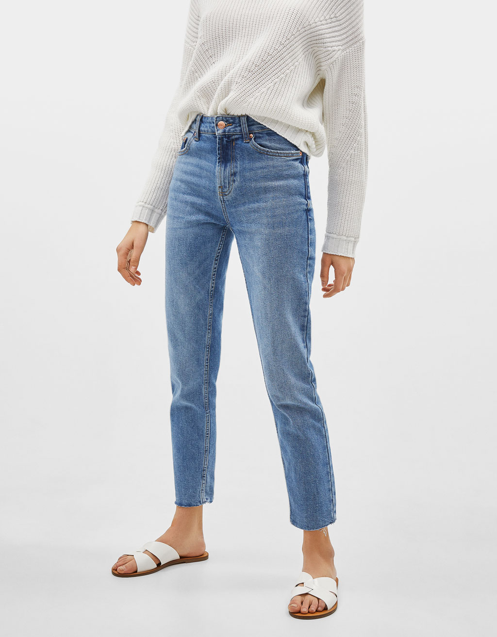 Straight cropped mid waist jeans