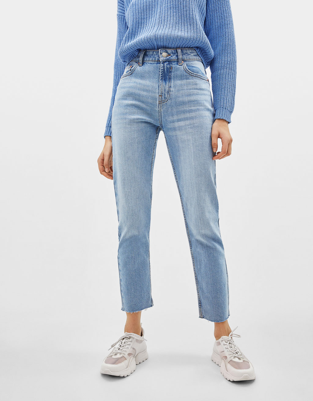 Jeans Straight Cropped Mid Waist
