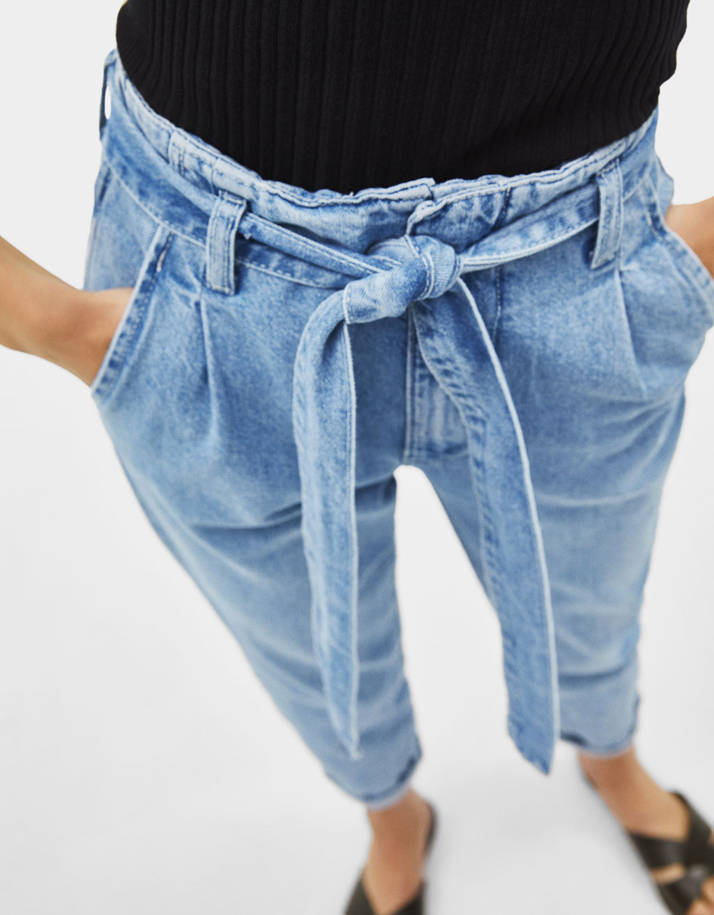Jeans paperbag taille haute