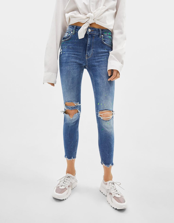 Skinny-Jeans mit halbhohem Bund