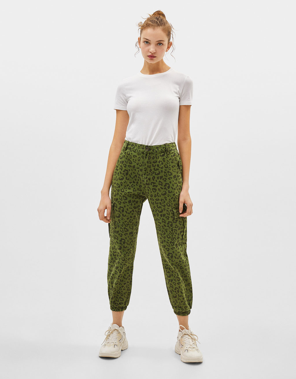 Leopard print cargo jeans
