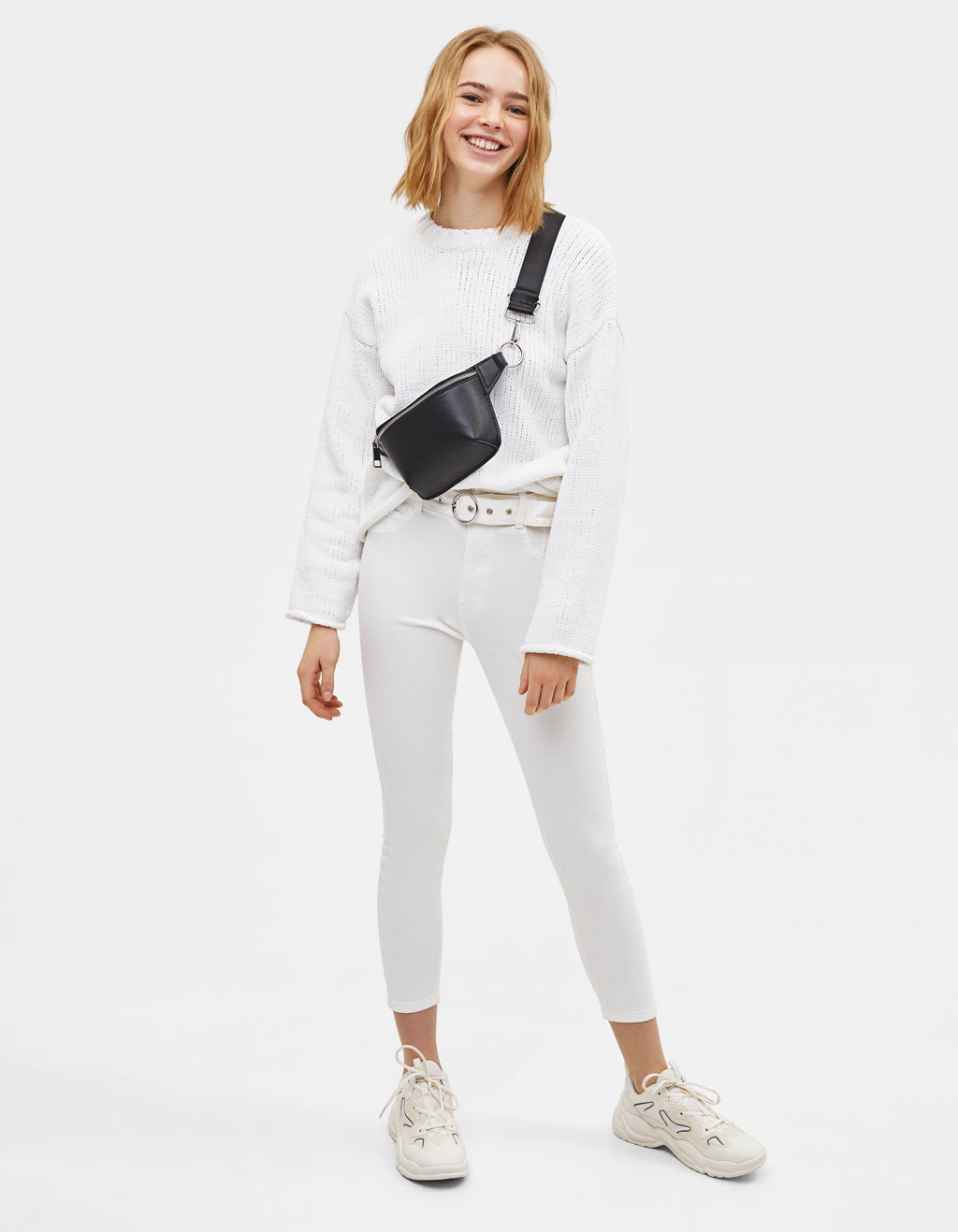 Belted pants with metal buckle