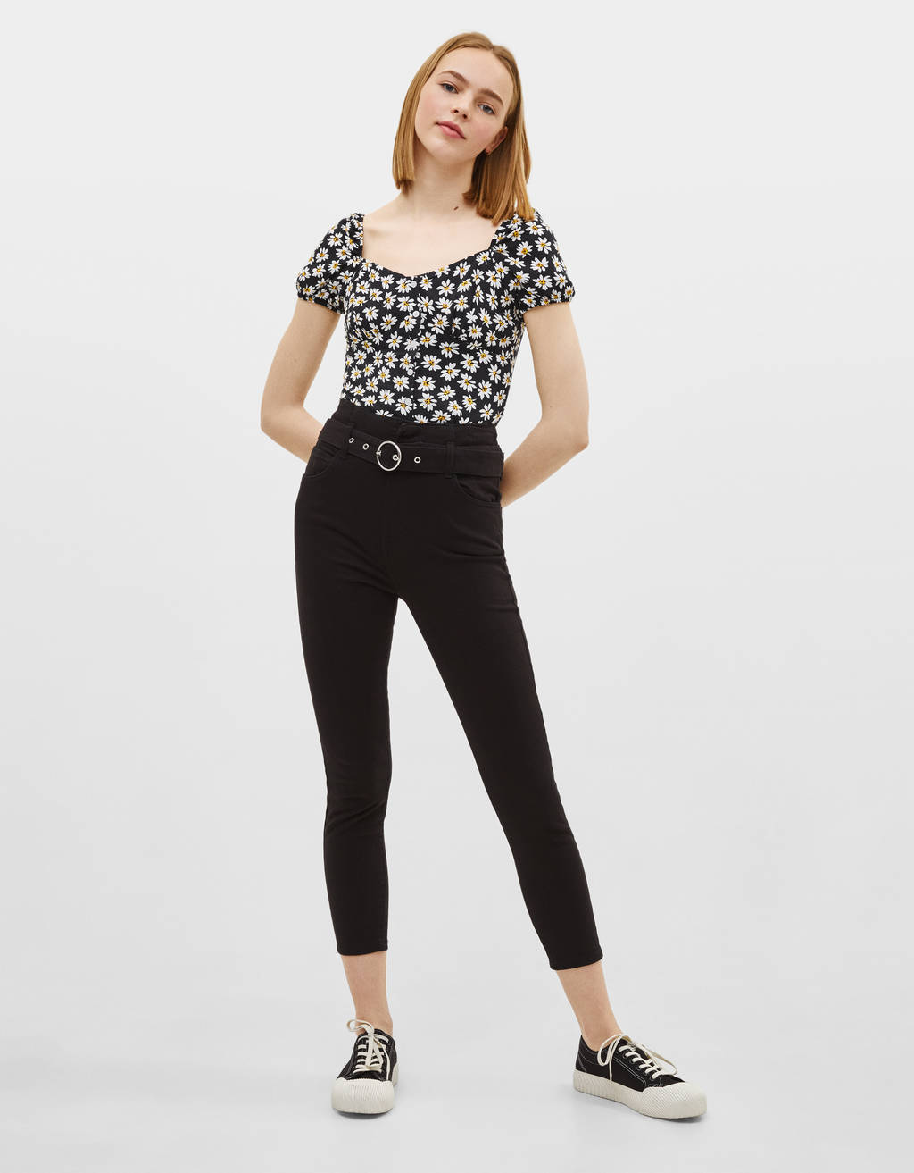 Belted Pants With Waist Piece by Bershka