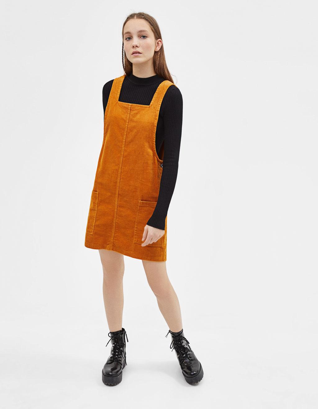 marca popular nuevo estilo de 2019 mejor lugar Vestido tipo peto de pana