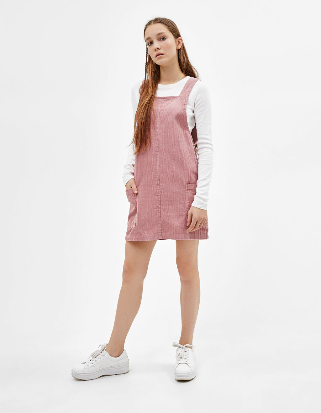 Corduroy pinafore dress