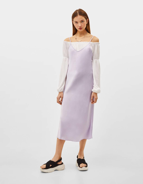 Vestido slip de alças