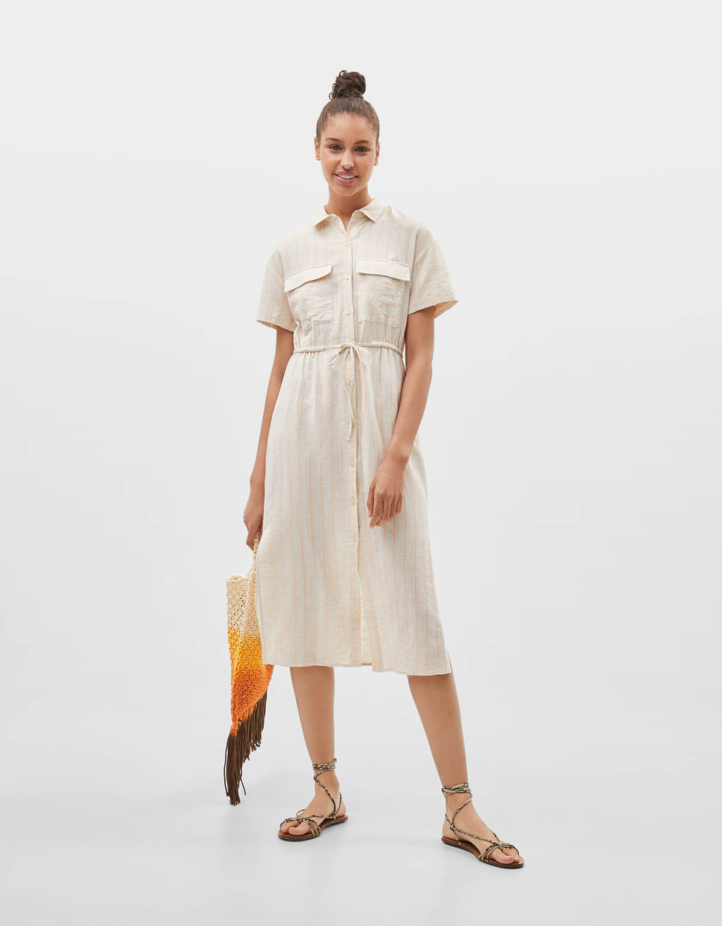 TENCEL® midi dress with front pockets