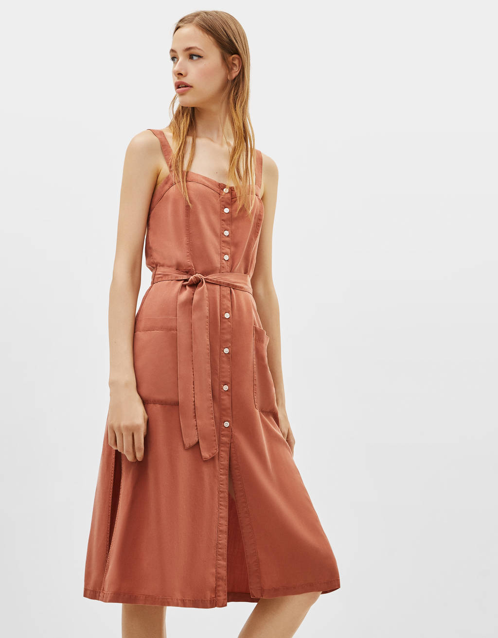 Tencel® dress with tied detail