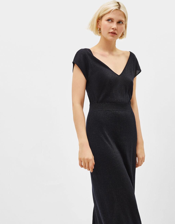 Lange jurk met metallic garen