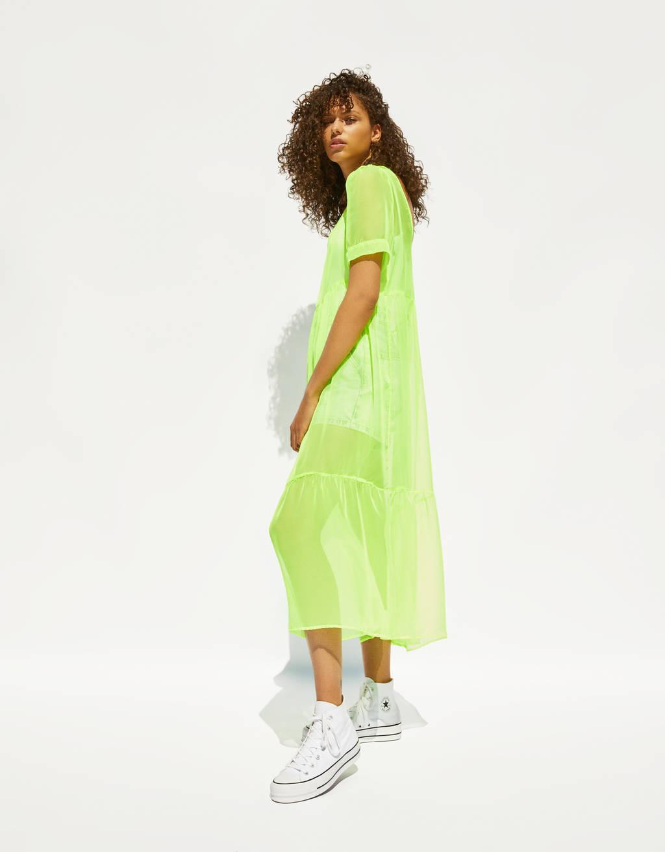 Neon uzun elbise