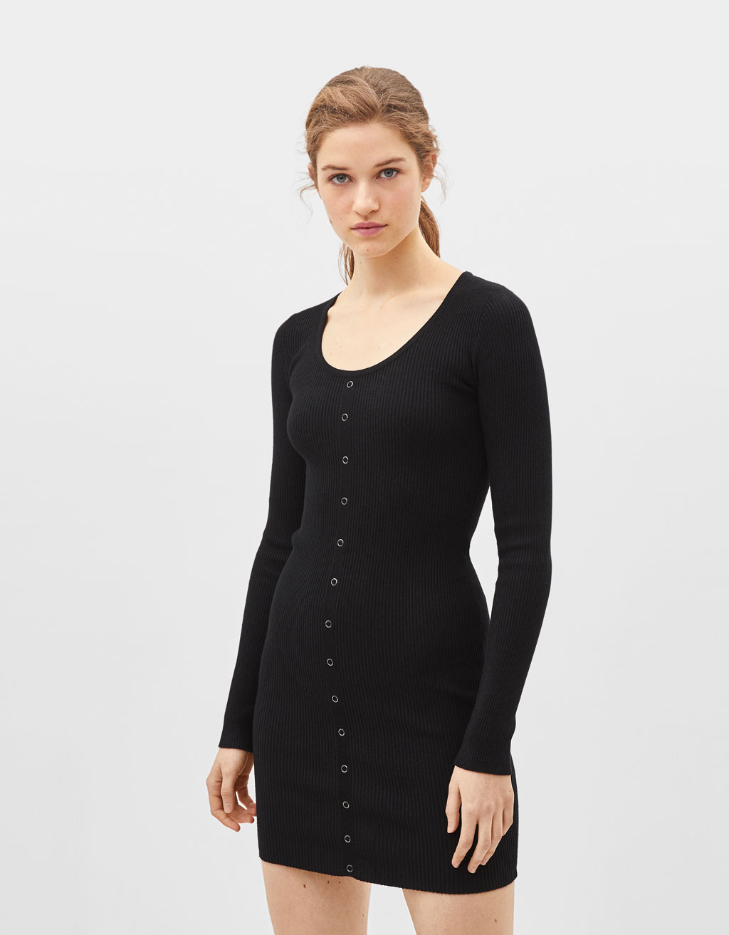 Long sleeve snap-button dress