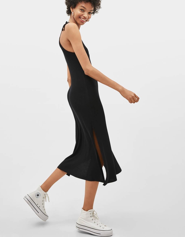 Midi-jurk met schouderbandjes