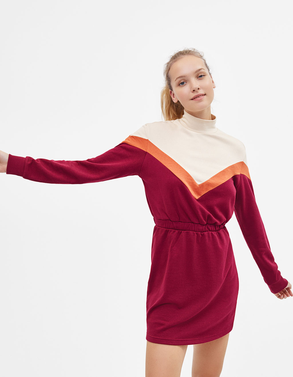 Colour block plush dress