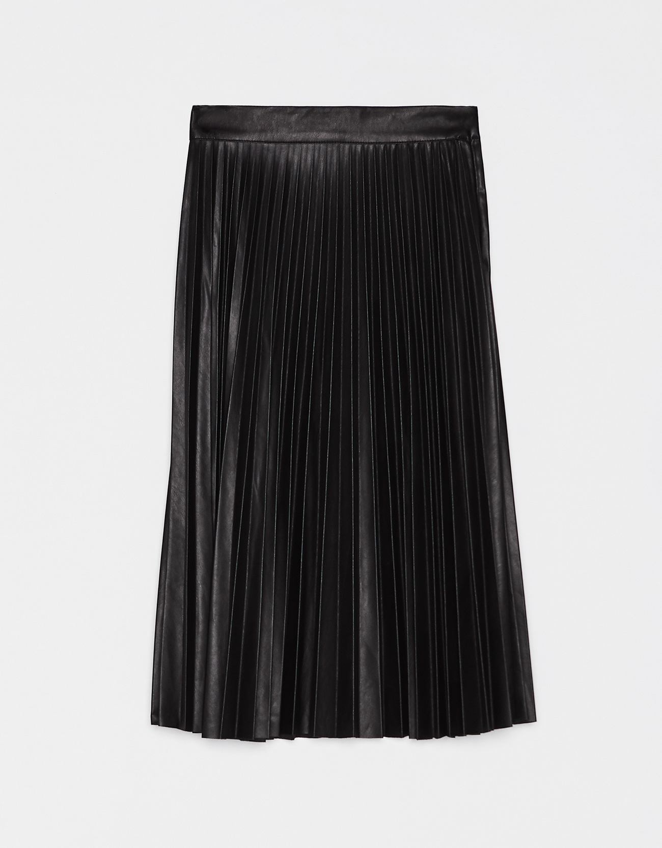 a81799527584 Pleated faux leather midi skirt - Plain - Bershka Ecuador