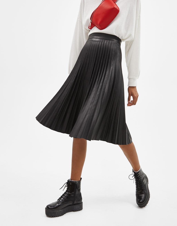 Pleated Faux Leather Midi Skirt by Bershka