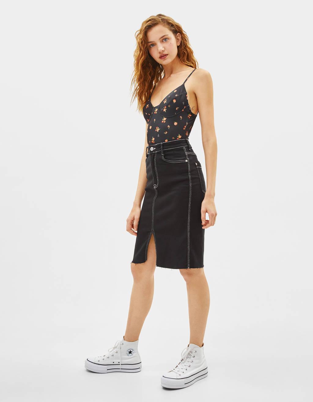 Keprová sukňa vmidi dĺžke
