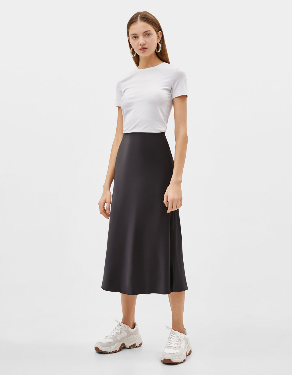 070e2d8b4 Satin midi skirt - Midi - Bershka Greece