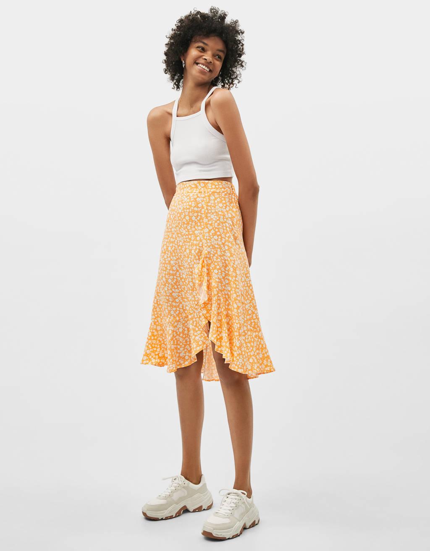 Kvetinová midi sukňa