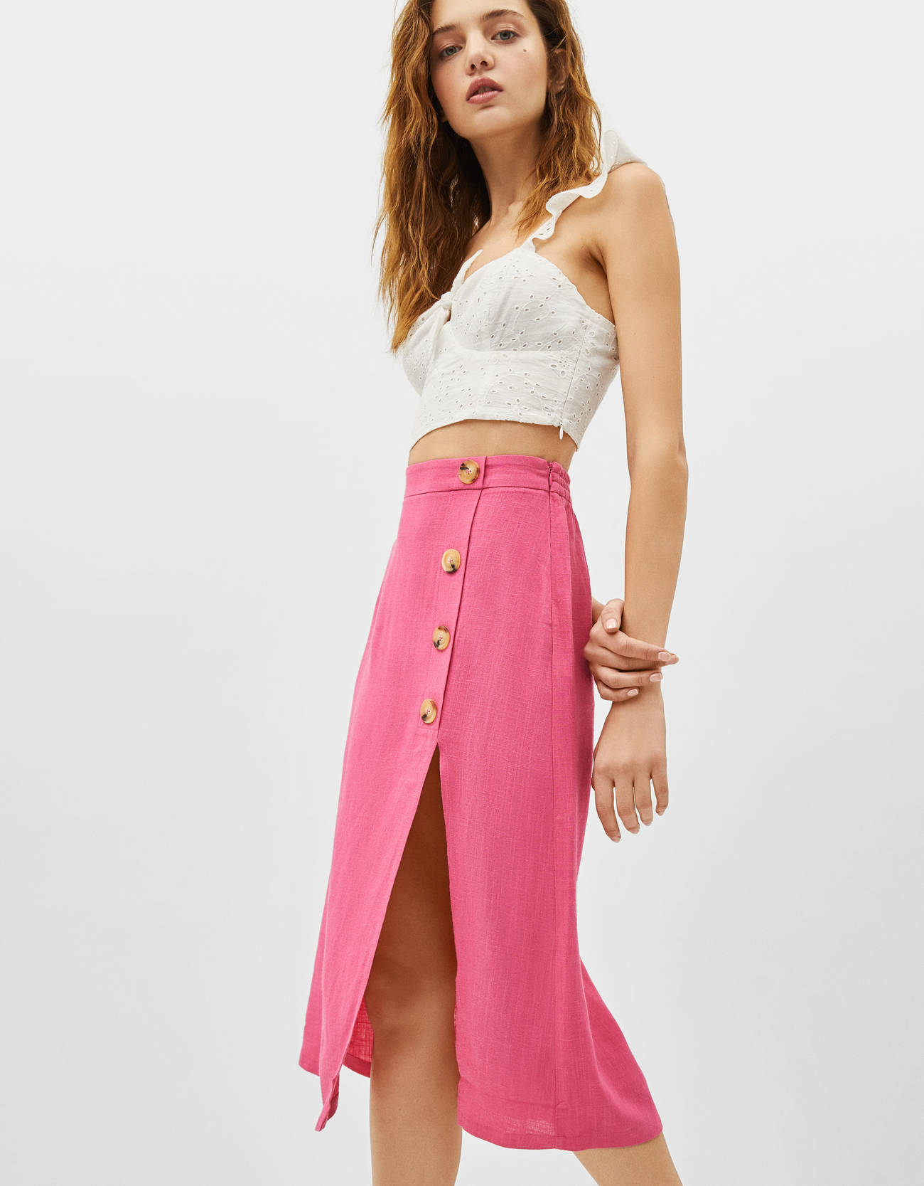 5bb30f17b Linen midi skirt - Blazers - Bershka Greece
