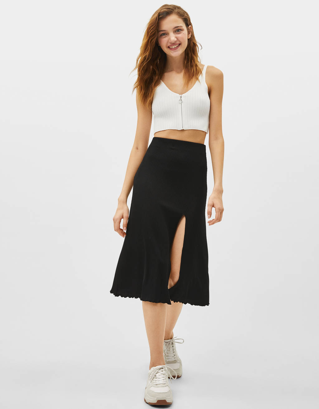 Ribbed midi skirt