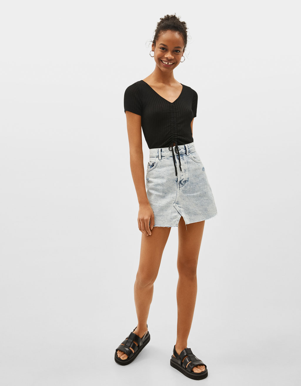 High-waist denim skirt