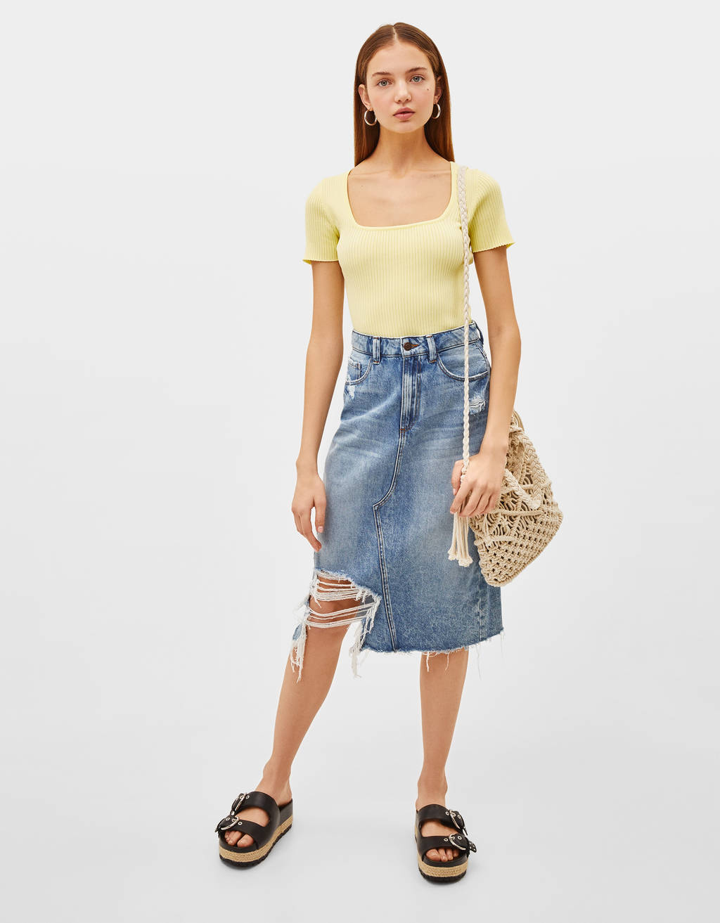 Jupe denim midi