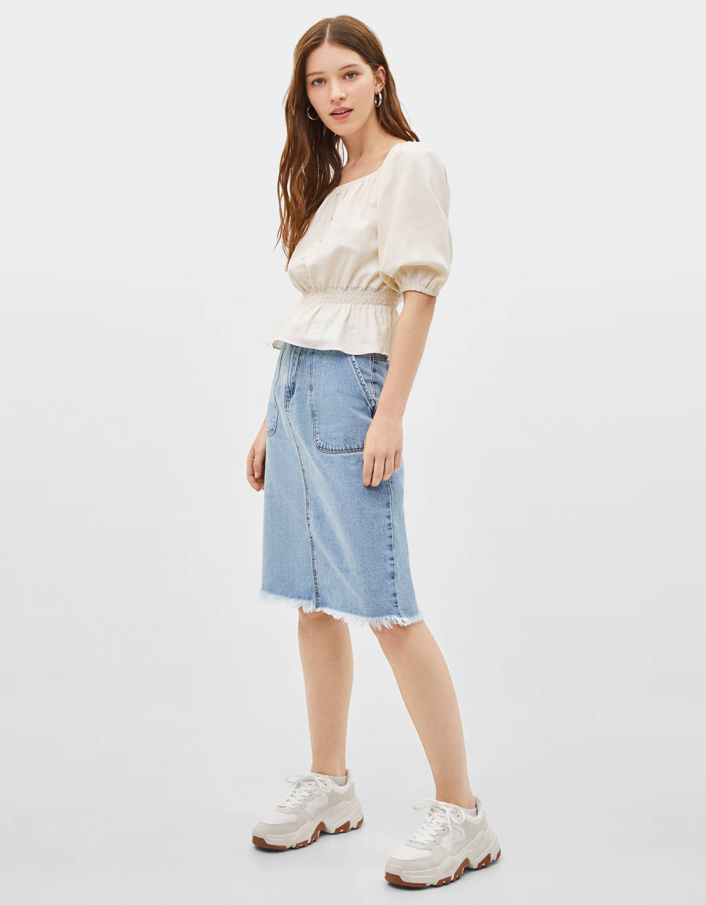 Midi skirt with frayed hem