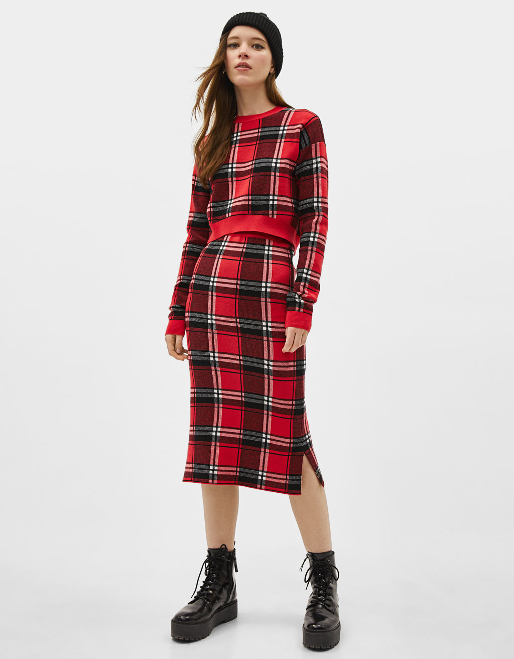 Midi skirt with check pattern