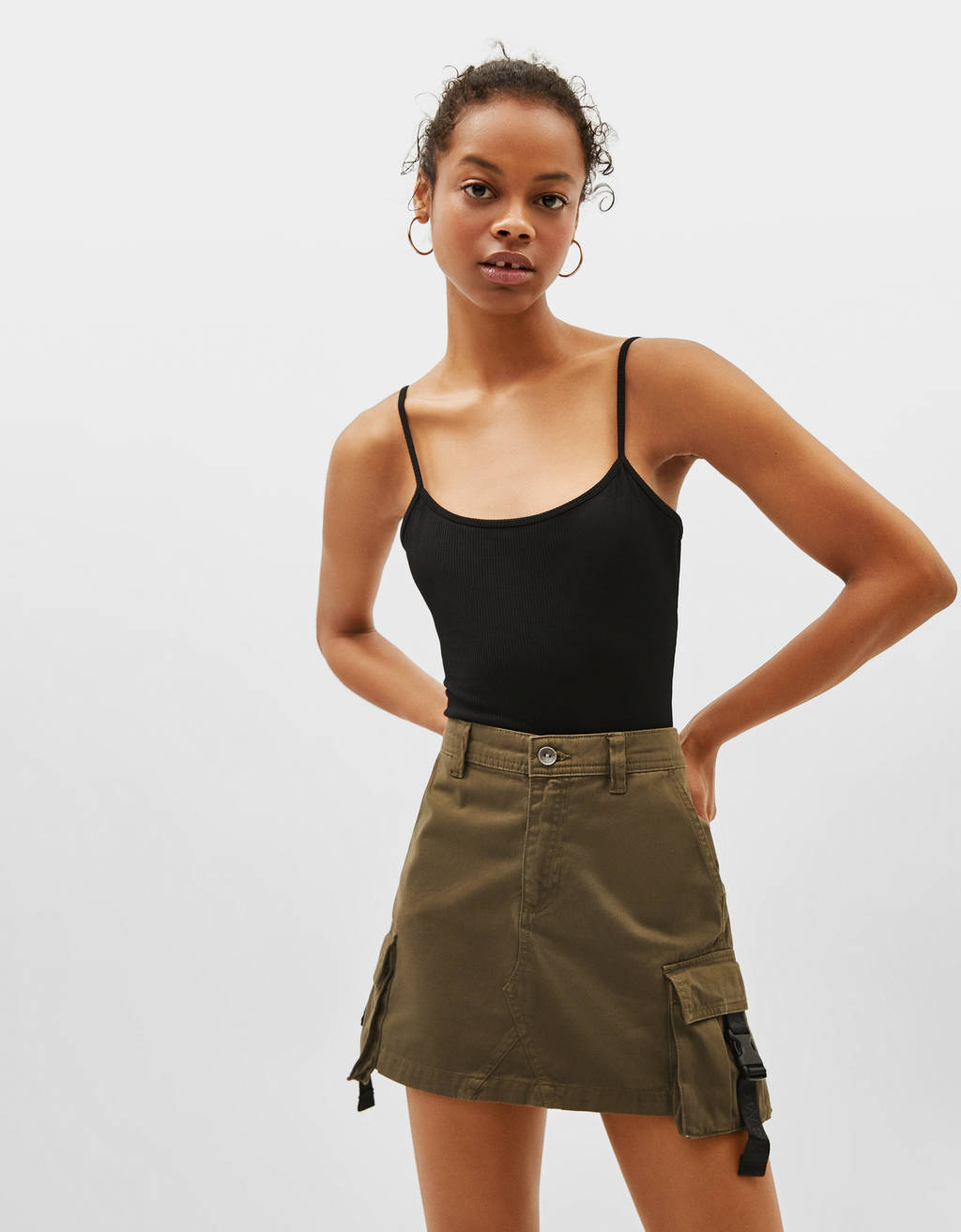 Mini cargo skirt with side taping