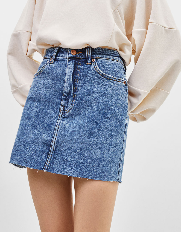 High waist acid wash denim skirt