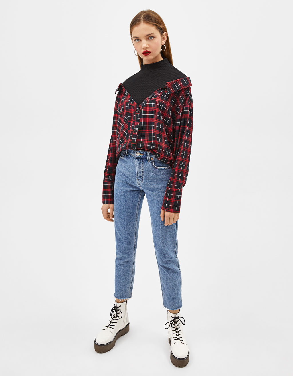 Contrast check shirt