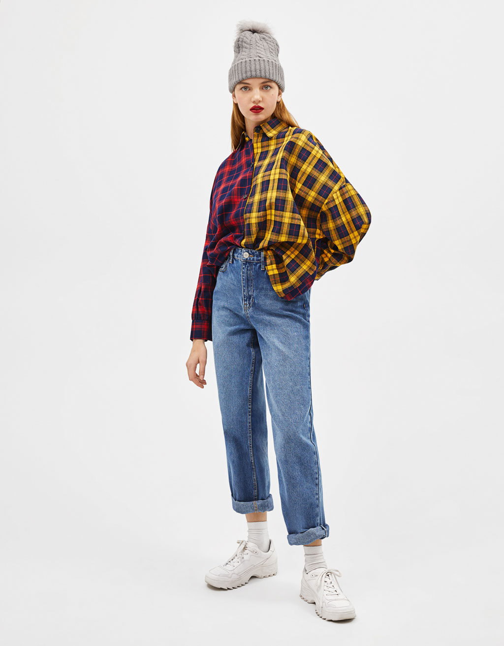 Contrast plaid print shirt