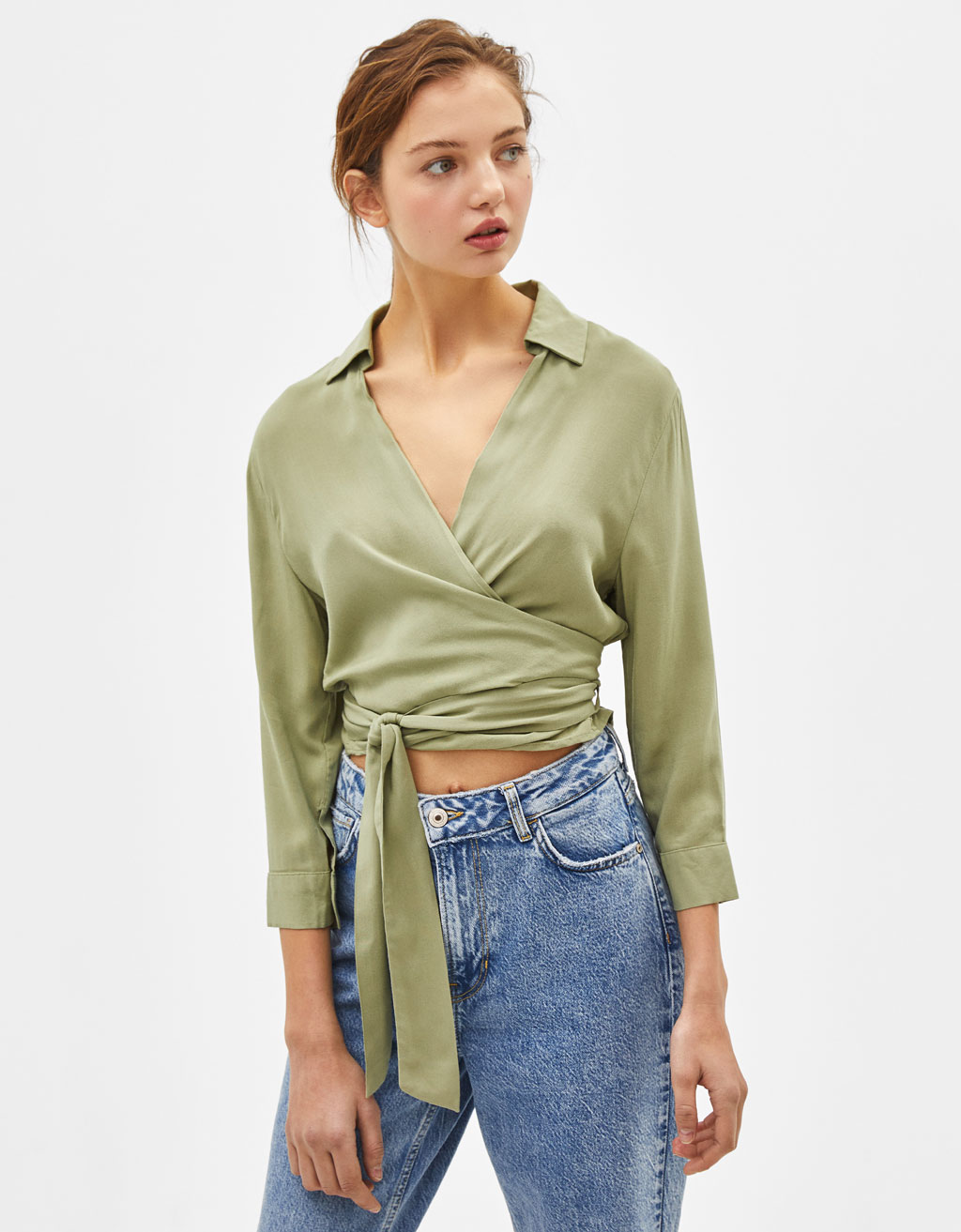 Double-breasted blouse met strik
