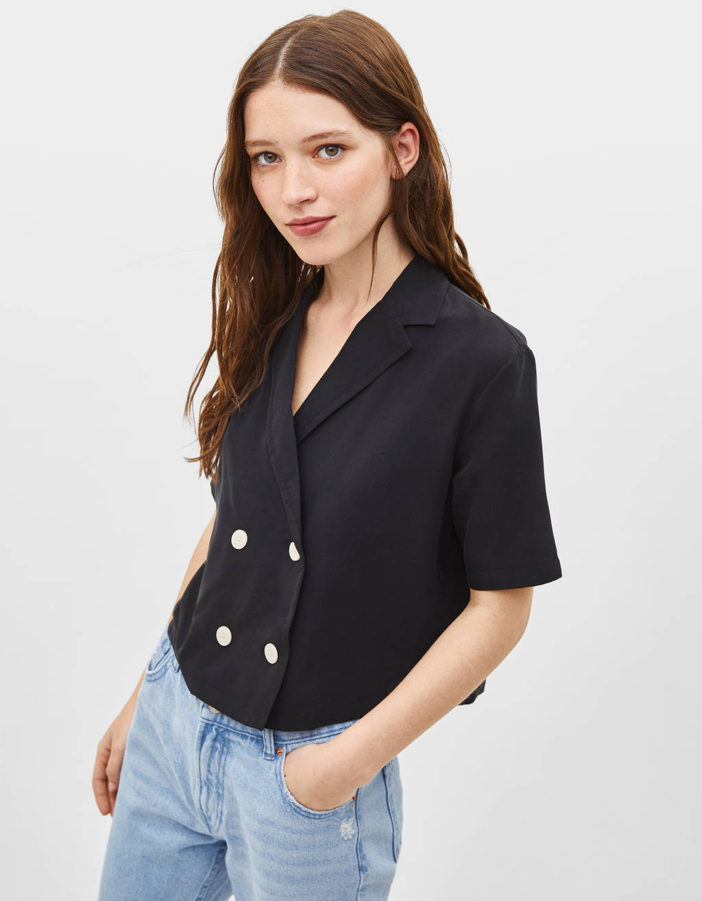 Short sleeve blazer shirt