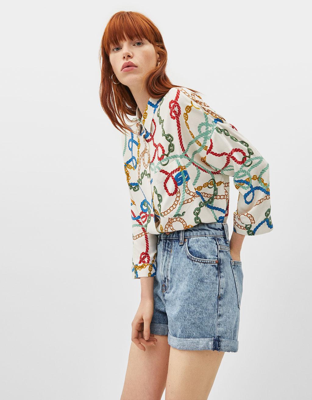 9e414b041f3819 Oversized chain print shirt - Playsuits & Jumpsuits - Bershka Spain
