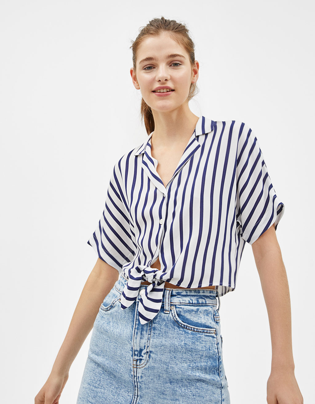 Oversized shirt with front knot