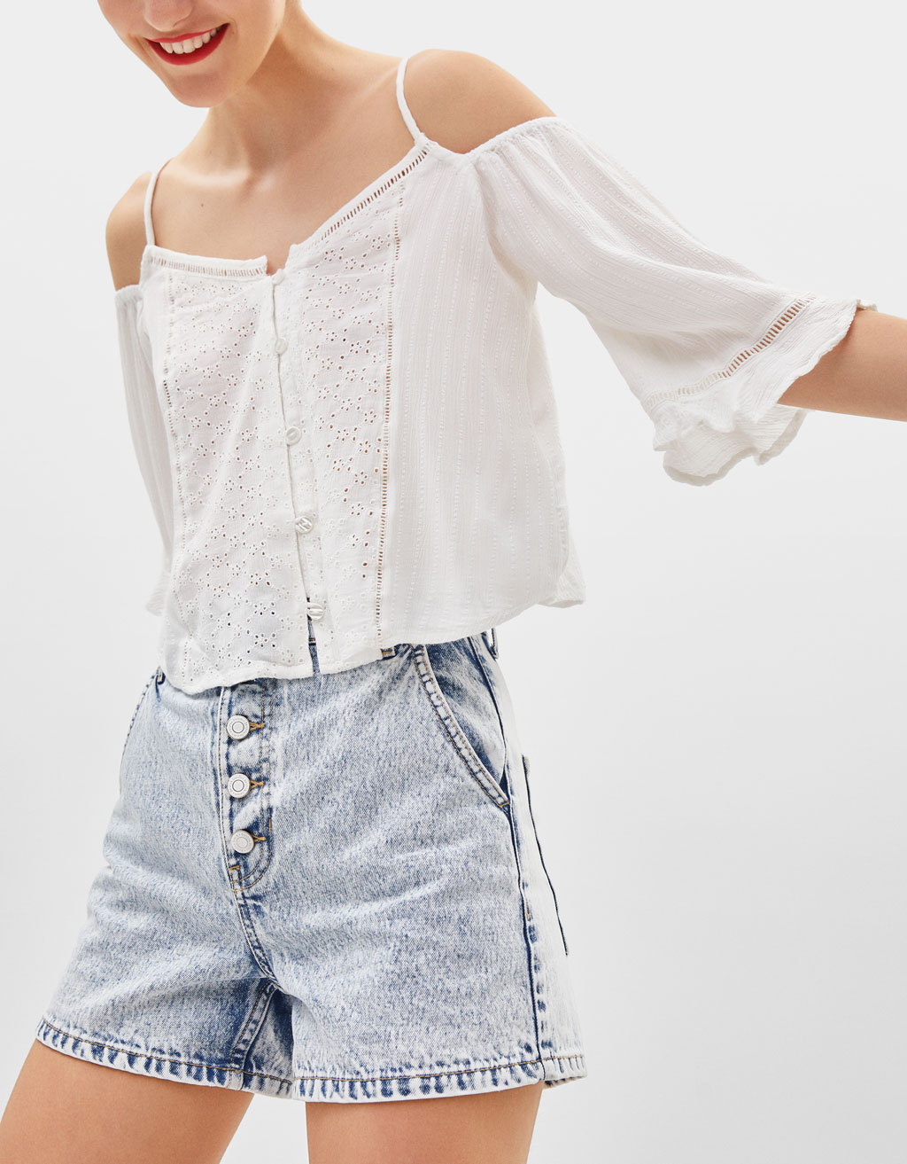 Off-the-shoulder blouse with ruffled sleeves