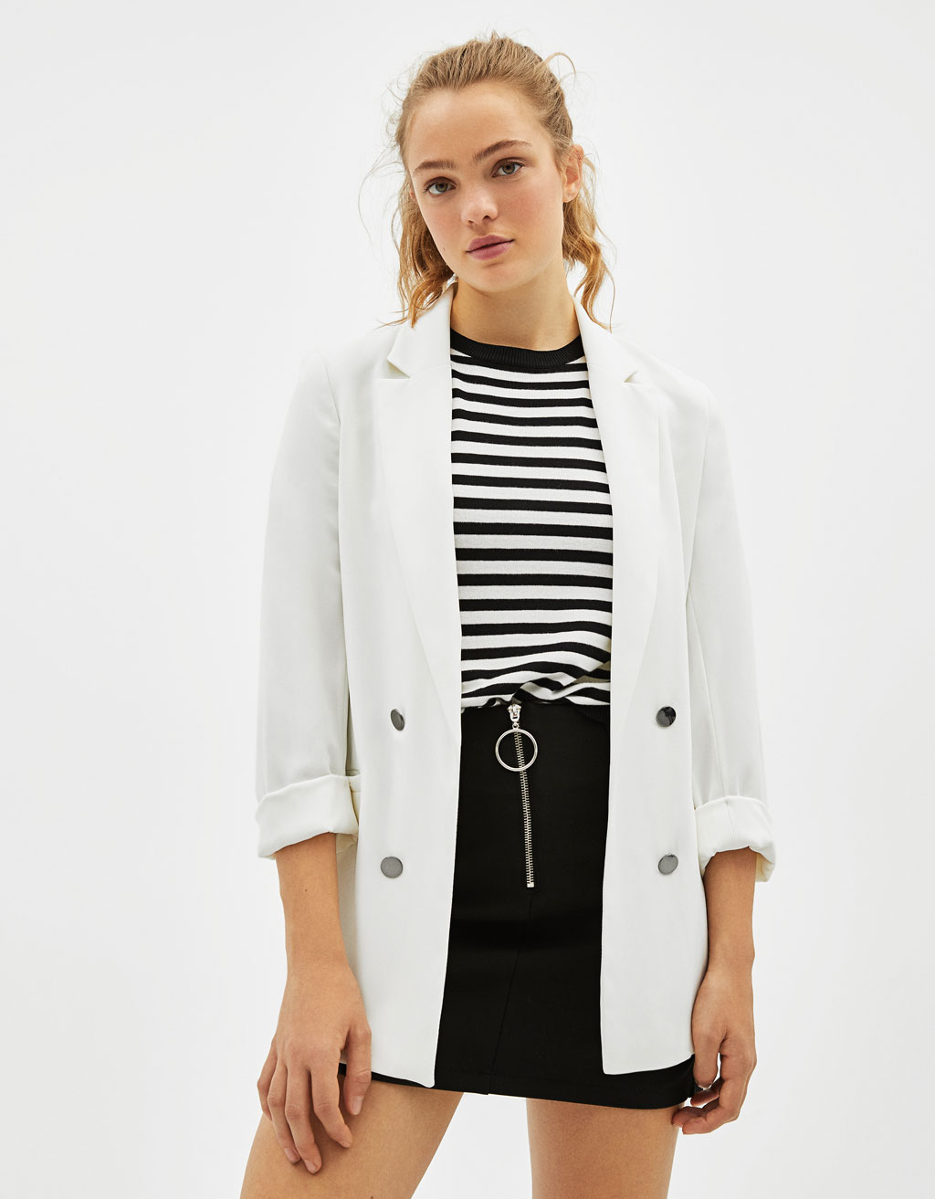 Blazer with rolled-up 3/4 sleeves