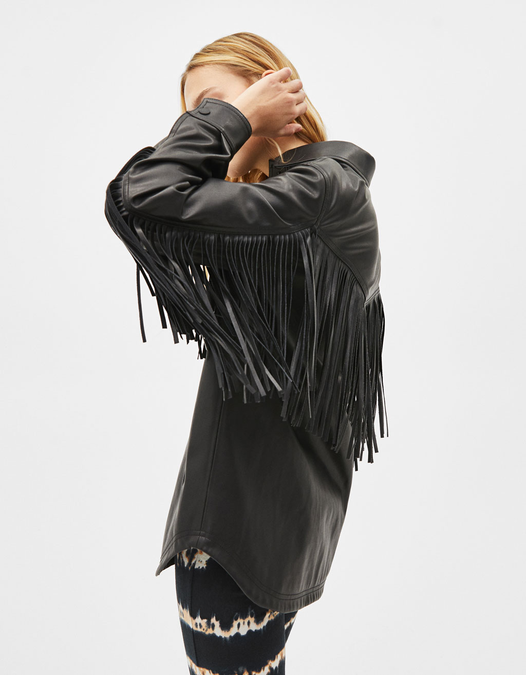 Faux leather overshirt with fringing