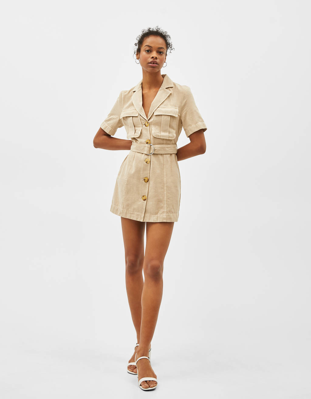 Belted linen blazer-style dress